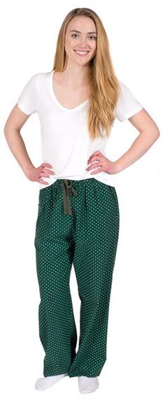 """Boxercraft Green and White """"Swiss Dot"""" Women's Flannel Pajama Pant $28 - SHOP http://www.thepajamacompany.com/store/18775.html"""