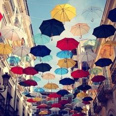 umbrellas!  Love the idea of this! Now to have a place to do it!
