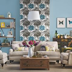 Blue and beige living room | traditional decorating ideas | Ideal Home | Housetohome.co.uk