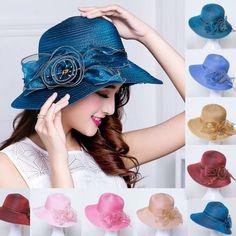 Retro Soild Color Womens Flower Organza Kentucky Derby Oaks Church Dress  T209. Cheap hat ... 02956e9c1c85