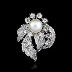 New Style Synthetic Crystal Women Brooch Original Upscale Flower Leaf Decoration Lady Jewelry #Affiliate