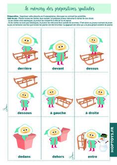 Chez Hop'Toys on adore réaliser des jeux pour les enfants ! Ce kit de 15fiches est classé par activités, vous trouverez un fichier pdf téléchargeable pour chaque activité ci-dessous : Pâte à modeler Labyrinthes Tracés Découpage Mémory des prépositions spatiales Lotodes prépositions spatiales 1. Activité «Pâtes à modeler»  Cliquez sur l'image pour télécharger le … Winter Activities, Activities For Kids, English Prepositions, Busy Bags, Learn French, Kids Education, Kids House, Kids Christmas, Games For Kids