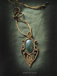Macrame pendant with aventurine gemstone. by AbstractikaCrafts