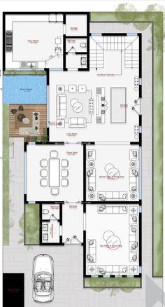 House Layout Plans, Family House Plans, House Layouts, Modern House Floor Plans, Luxury Floor Plans, Interior Architecture Drawing, Architecture Plan, Model House Plan, Duplex Plans