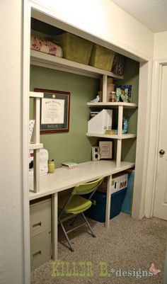 Turn your closet into a desk space