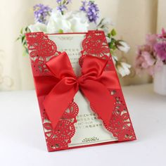 Red Laser Cut Wedding Invitations With Ribbon Bow