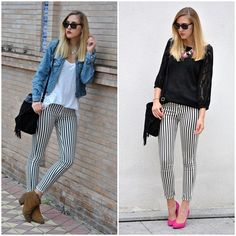 I recently bought some striped pants like this, trying to figure out what to wear with them.