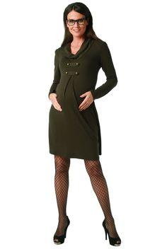 Maternite Cowl Neck Military Style Maternity Dress at Amazon Women's Clothing store: