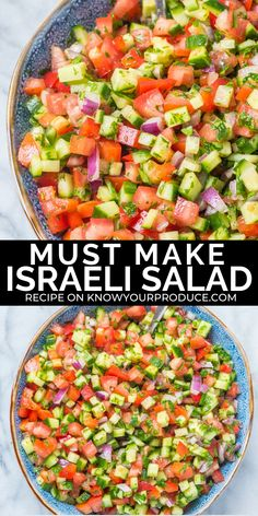 Israeli Salad is a must make Middle Eastern Recipe that is full of flavor, healthy and low carb! This side dish salad similar to Shirazi Salad (Persian Cucumber and Tomato Salad). Recipes on the go Israeli Salad Low Carb Recipes, Diet Recipes, Vegetarian Recipes, Cooking Recipes, Healthy Recipes, Healthy Salads, Tasty Salad Recipes, Low Carb Summer Recipes, Parsley Recipes