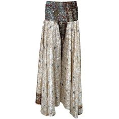 Women's Skirt Silver Floral Printed Vintage Sari Gypsy Long Skirts ($23) ❤ liked on Polyvore featuring skirts, floral skirt, silver maxi skirt, gypsy skirt, brown maxi skirt and vintage maxi skirt