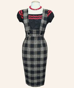 1950s Pinafore Strap Wiggle Skirt | 1950s Dresses from Vivien of Holloway