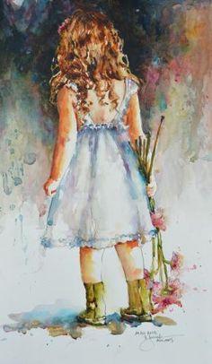"""Miss Rora"" Bev Jozwiak Watercolor Artists, Watercolor Portraits, Watercolor Paintings, Watercolors, Watercolor Trees, Watercolor Landscape, Painting People, Color Pencil Art, Acrylic Art"