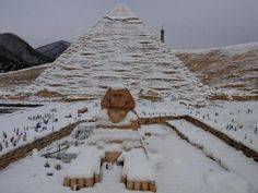 This is the first snow in Egypt for 112 years. This angle of the Sphinx shows the anomalous weather condition even more.