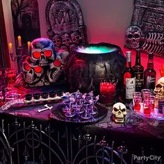 Serve up boozy concoctions from a witchy bar! A glowing green cauldron with freshly dug grave stones skulls are a must for this brew of spirits! Adult Halloween Party, Creepy Halloween, Halloween Birthday, Outdoor Halloween, Halloween Party Decor, Halloween Themes, Vintage Halloween, Halloween Candy Bar, Asylum Halloween