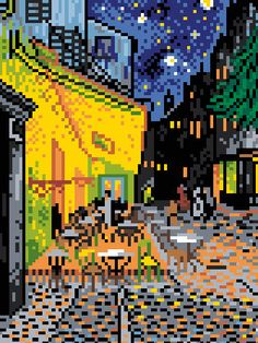 The Cafe Terrace by Van Gogh Cross Stitch Pattern by ArtbyMariana