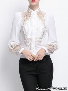 white Embroidered Shirt Collar H-line Long Sleeve Blouse Hijab Fashion, Fashion Dresses, Maxi Dresses, Mode Ab 50, Beautiful Blouses, Blouse Designs, Ideias Fashion, Cute Outfits, Clothes For Women