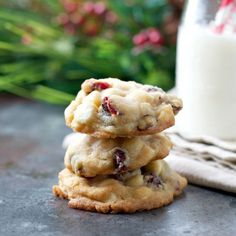 Soft, chewy and oh-so-good, these Cherry White Chocolate Chip Christmas Cookies make the holidays sweet!