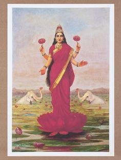 Buy Lakshmi by Raja Ravi Varma Canvas Print Painting 32in x 22in Online at Jaypore.com