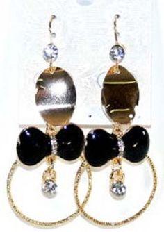 Boucles d oreilles pendantes or-noeud papillon noir-diamant-métal doré-strass