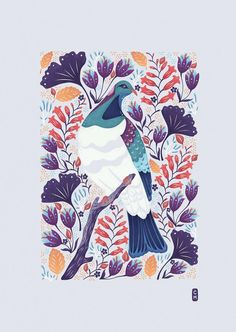 Kereru Art Print Large Art Print Floral Design Pigeon Art | Etsy Large Art Prints, New Zealand Art, Nz Art, Purple Art, Kiwiana, Pigeon, Red Flowers, Fine Art Paper, Giclee Print
