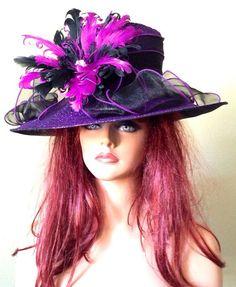 Black Purple Kentucky Derby Hat  Races  Sheer by jeniferbuckley..