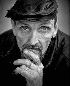 Grayscale of Photo of Men's Wearing Black Leather Hat · Free Stock Photo Black And White Portraits, Black And White Photography, People Photography, Portrait Photography, Photography Gallery, Photography Ideas, Barba Grande, Stock Imagery, Homeless Man
