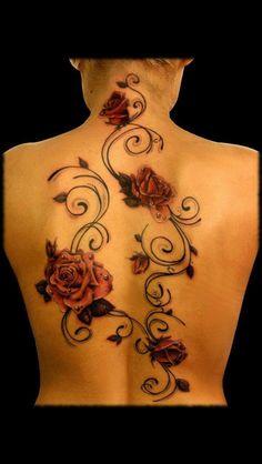 Back rose tattoo - minus the piercings!