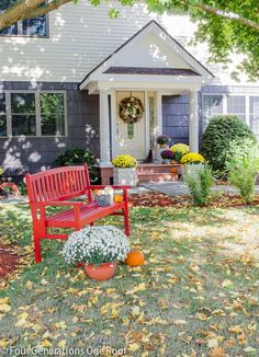 Our brand new portico curb appeal reveal featuring fall decor and a new front entry. Looking to boost your curb appeal? How about a new portico entrance?