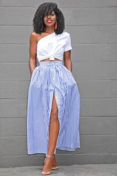 One Shoulder Cotton Top + Striped Button Down Skirt (Style Pantry) : Outfit Details… Top (Rosie Assoulin – sold out): Similar styles here Look Fashion, Skirt Fashion, Fashion Outfits, Womens Fashion, Fashion Trends, Daily Fashion, Fashion Tips, Street Style Jeans, Skirt Outfits