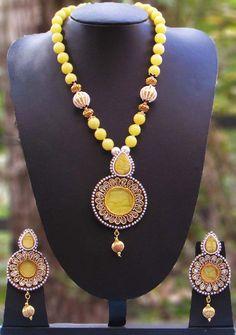 Elegant Pearl & Polki Necklace Set