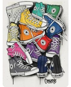 CONVERSE - Juan Morant (via Behance). Obvious influence from pop art, however wouldn't class this piece as a work of pop art - more modern art. The use of bright colours and the way the shoes are laid out make them look like they are joined making the ima Art And Illustration, Illustrations, Retro, Inspiration Art, Arte Pop, Shoe Art, Art Plastique, All Star, Art Drawings