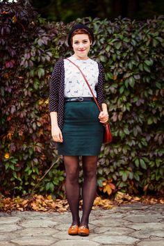 teal pencil mini skirt with printed blouse and polka dot cardigan