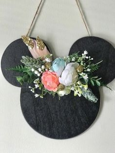 Your place to buy and sell all things handmade Mickey Mouse House, Disney Mouse Ears, Minnie Mouse Party, Disney Christmas Decorations, Disney Home Decor, Casa Disney, Disney House, Disney Wreath, Disney Diy Crafts