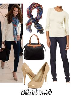 - Affordable Fashion Tips and Trends: Celebrity Look for Less: Kate Middleton Style keep it simple - white tee, skinny jeans, heals, scarf Royal Fashion, Look Fashion, Fashion Beauty, Womens Fashion, Fashion Tips, Kate Middleton Stil, Kate Middleton Fashion, Joanna Gaines Style, Casual Chique