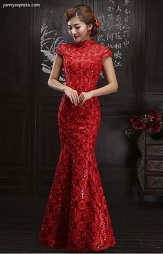 Chinese Wedding Dress Ruched Lace Allover Qipao Bridal Reception