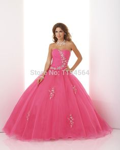 >> Click to Buy << Cheap Quinceanera Dresses 2015 New Arrival Fromal Party Dresses for 15 Years Fushia Organza Appliques Sweetheart BQ64 #Affiliate