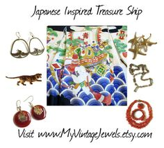 """Japanese Treasure Ship"" by myvintagejewels ❤ liked on Polyvore featuring vintage"