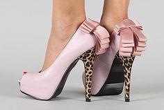 Leopard Bow Peep Toe Platform Stiletto Heel Pump Pink