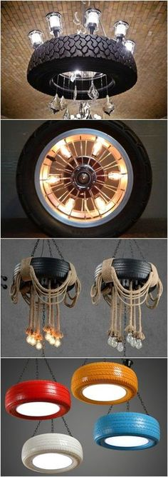 10 Amazing Lamps Selection from DIY Tire Projects - Pendant Lighting - Amazing selection of lamps made with tires from DIY-Tire-Projects.com, more on their website. #LampsDIY