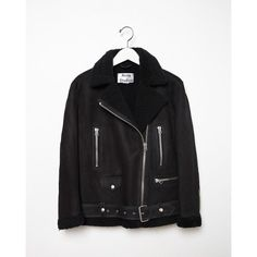 Acne Studios More Shearling Moto Jacket (181.530 RUB) ❤ liked on Polyvore featuring outerwear, jackets, acne studios, collar jacket, belted jacket, rider jacket and dark blue jacket