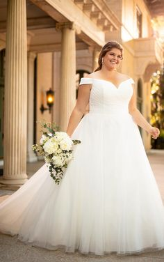 Soft and romantic, this classic princess style is your simple and elegant plus size wedding dress dream come true. Tulle and Regency organza come together in delicate ruching to create a lightweight and luxurious ballgown silhouette, with a slight sweetheart-shaped bodice that reaches into an elegant off-shoulder neckline. Plus Wedding Dresses, Maxi Dress Wedding, Wedding Dress Pictures, Princess Wedding Dresses, Plus Size Wedding, Bridal Dresses, Gown Wedding, Wedding Blog, Red Wedding
