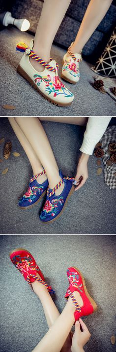 US$17.97 Red Flower Embroidered Retro Colorful Chinese Knot Loafers
