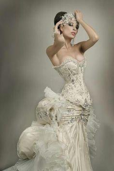 Steampunk wedding gown. #wedding #steampunk