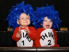 """Parenting.com mom Jennifer from California said: """"These are my one-year-old twins Zachary and Alexandra, in the 'Dr. Seuss Thing One and Thing Two' costumes I made them. Very easy to make. No sew!"""""""