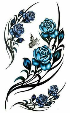 Tribal rose Tattoo Designs but would want red roses Hand Tattoos, Rose Vine Tattoos, Tribal Rose Tattoos, Side Tattoos, Flower Tattoos, Body Art Tattoos, New Tattoos, Cool Tattoos, Butterfly Tattoos