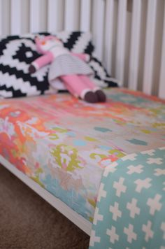 fitted crib sheet in watercolor ikat from candy kirby designs.