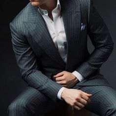 Men's Fashion Grey Pinstripe Suit and White button down shirt without a tie