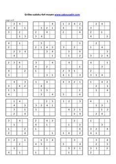 grilles-sudoku-4x4-niveau-moyen-9   sudokut   Pinterest
