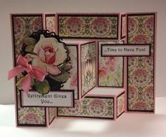 Shutter card made with Anna Griffin Eleanor paper. Z Cards, Easel Cards, Pop Up Cards, Tri Fold Cards, Fancy Fold Cards, Folded Cards, Trifold Shutter Cards, Patchwork Cards, Stepper Cards