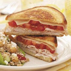 Grilled Cheese with Turkey Recipe -I make these turkey and cheese sandwiches at least once a week. I love the melty cheese and mayonnaise for comforting appeal. – Teresa Stephens, Dexter, New York Tomato Sandwich, Grilled Sandwich, Soup And Sandwich, Turkey Sandwiches, Wrap Sandwiches, Grilled Cheese Recipes, Pizza Recipes, Recipes Dinner, Dinner Ideas